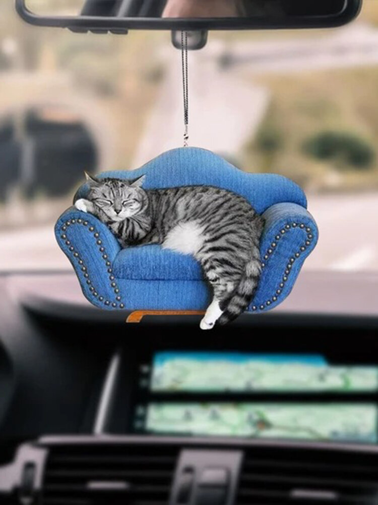 1PC Acrylic Cute Car Rearview Mirror Cat Kitty Pendant Home Hanging Ornament Backpack Keychain Accessories