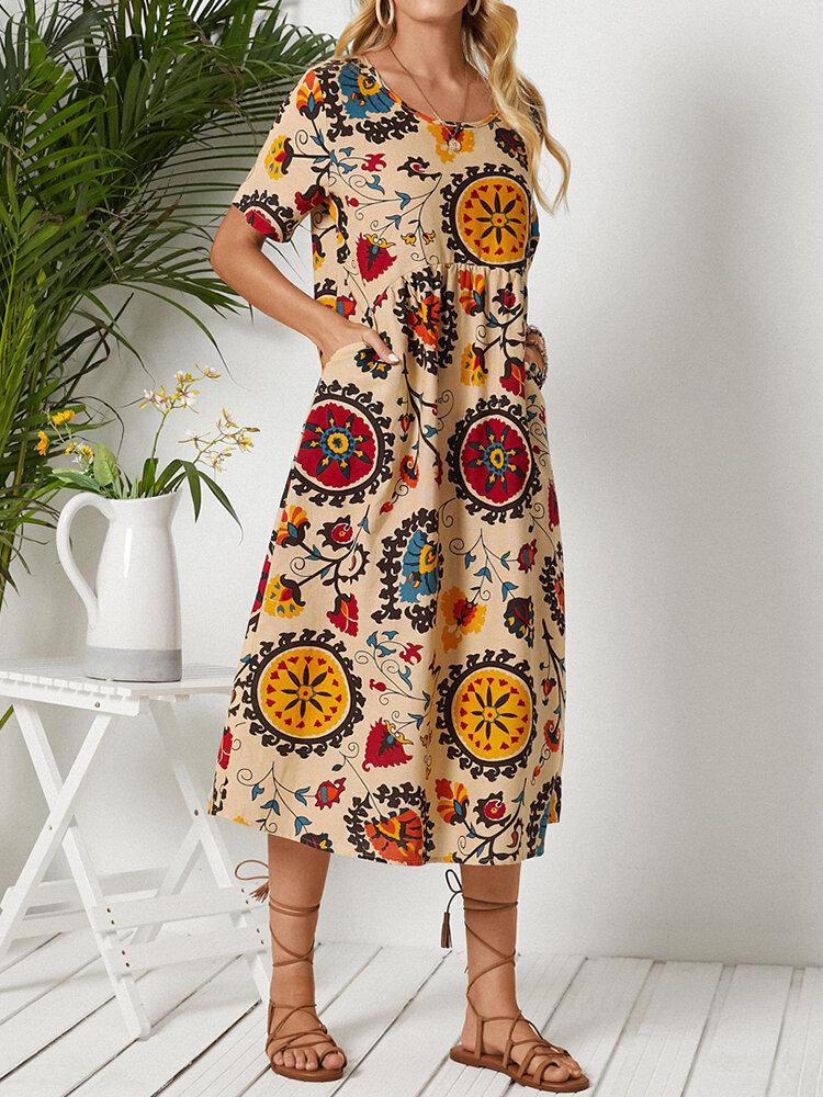 Tribal Flower Print O-neck Pocket Short Sleeve Vintage Dress