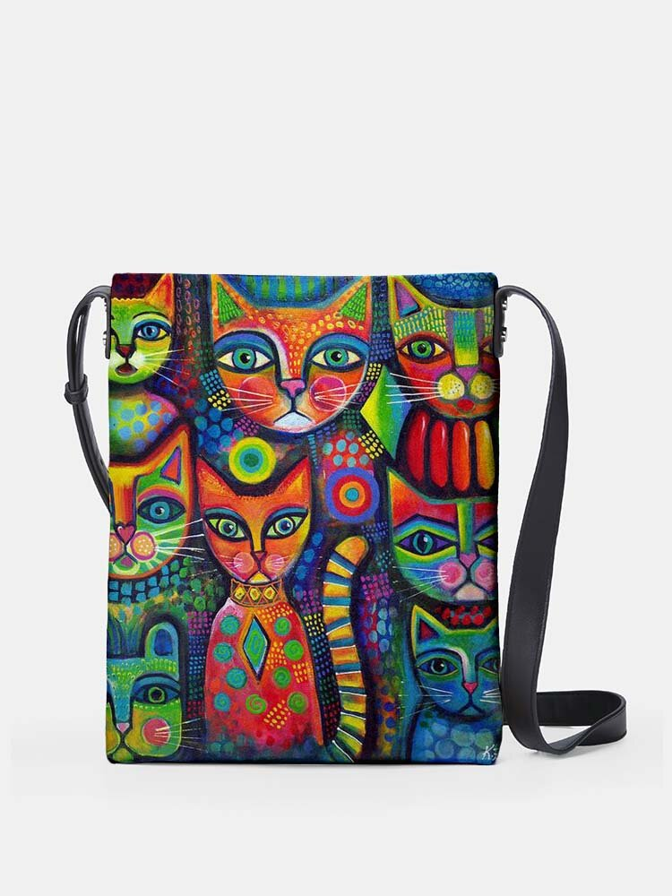 Abstract Lovely Psychedelic Cats Print Pattern Comfy Waterproof Multi-Pockets Magnetic Clasp Shoulder Bag
