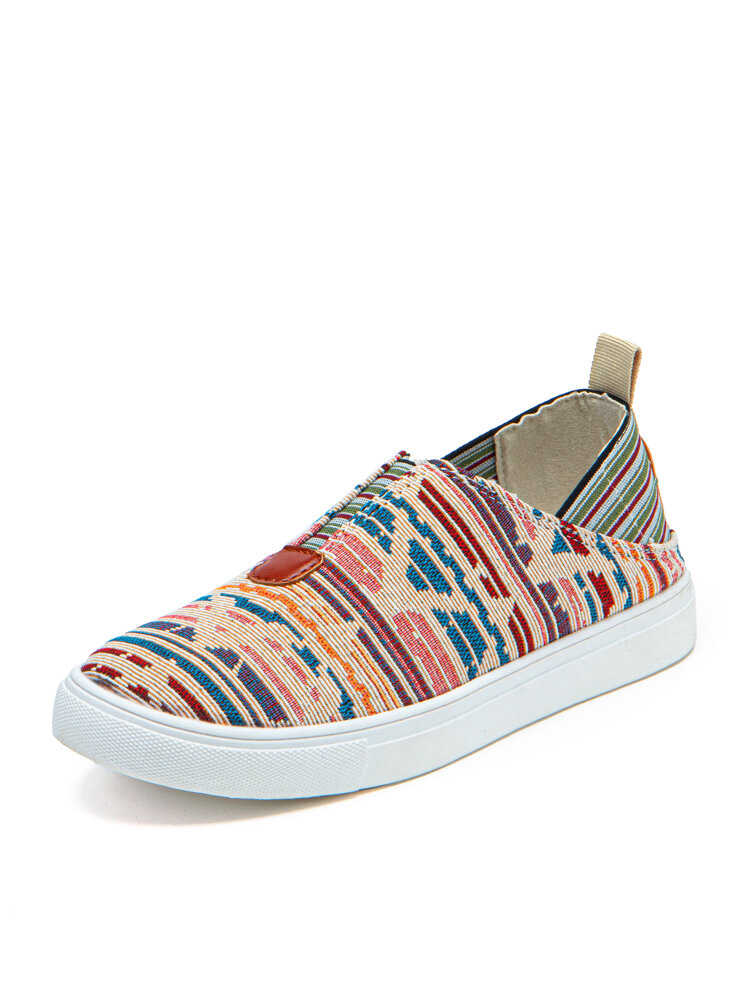 Plus Size Women Casual Canvas Printed 2 Wearing Way Slip On Flat Sneakers