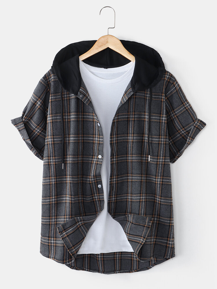 Mens Vintage Plaid Print Button Front Casual Short Sleeve Hooded Shirt