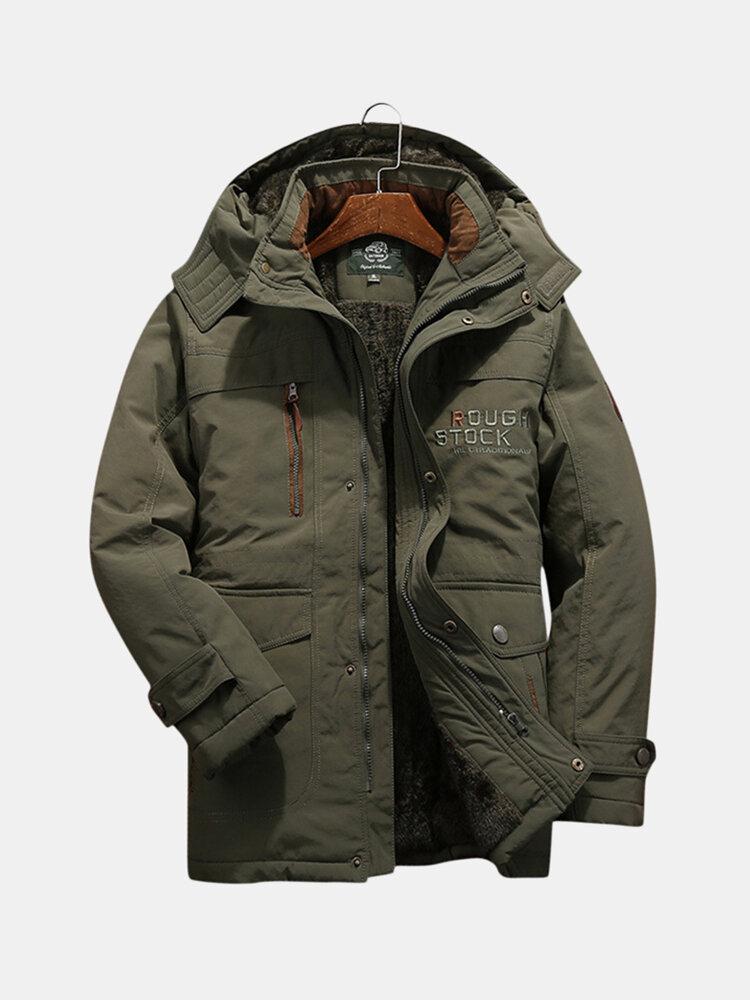 メンズ冬防風マルチポケットジッパー厚く緩い快適な暖かいジャケット