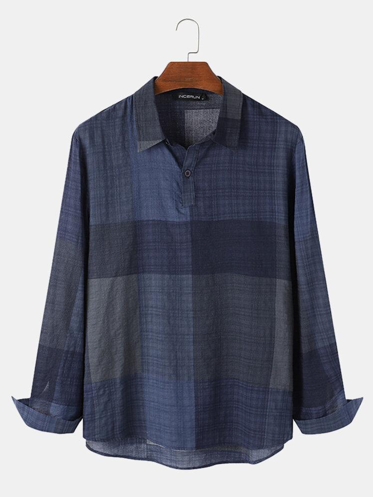 Plus Size Mens Plaid Casual Cotton Long Sleeve Golf Shirts
