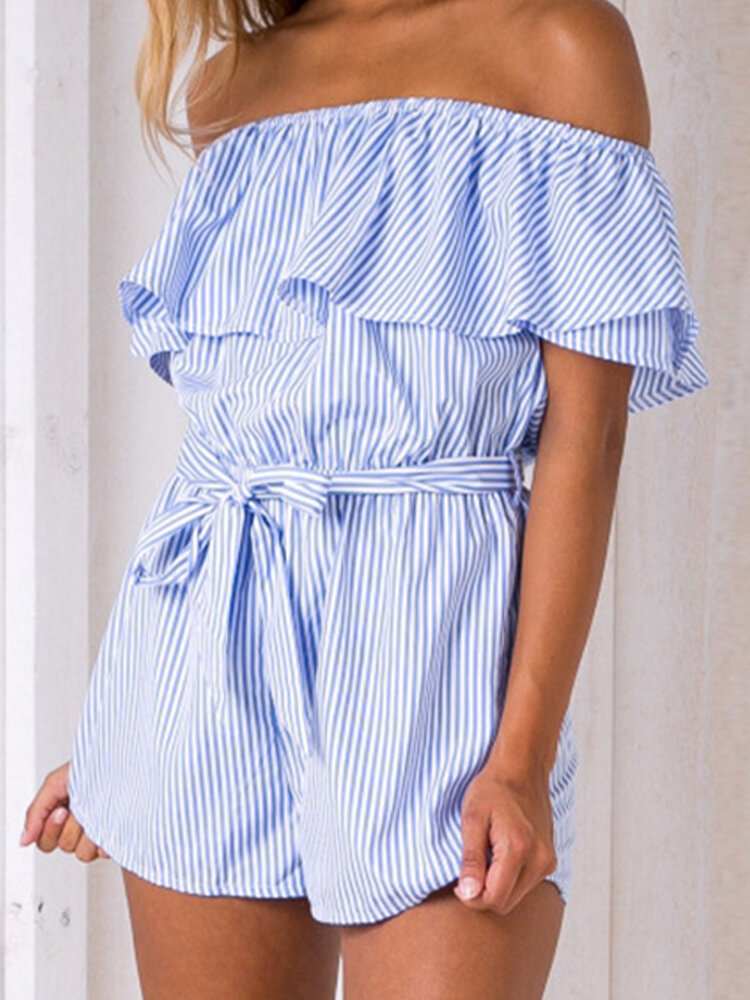Striped Print Waistband Off-shoulder Ruffle Casual Romper for Women