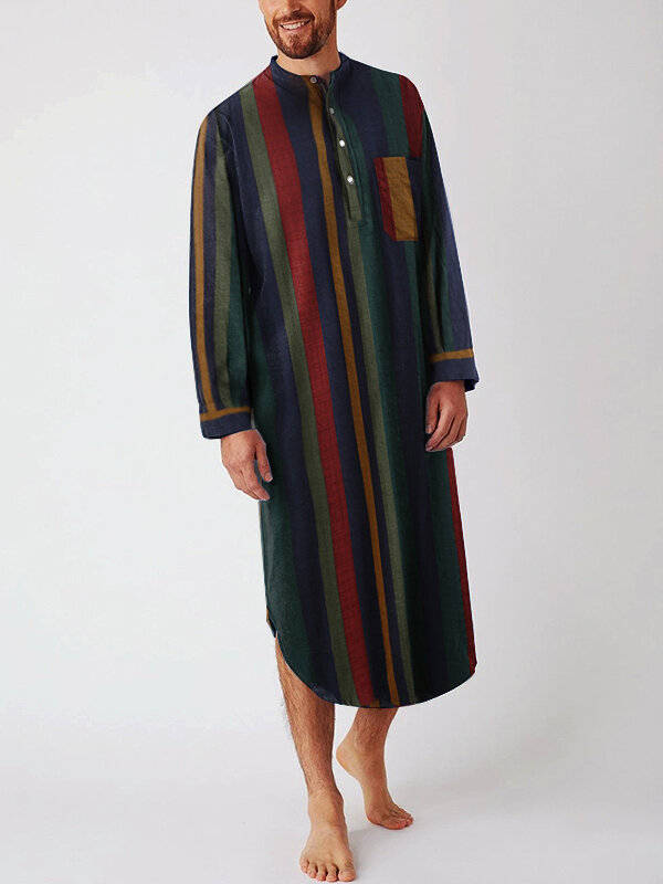Men Multi Color Striped Button Up Length Shirts Design Robes with Chest Pocket
