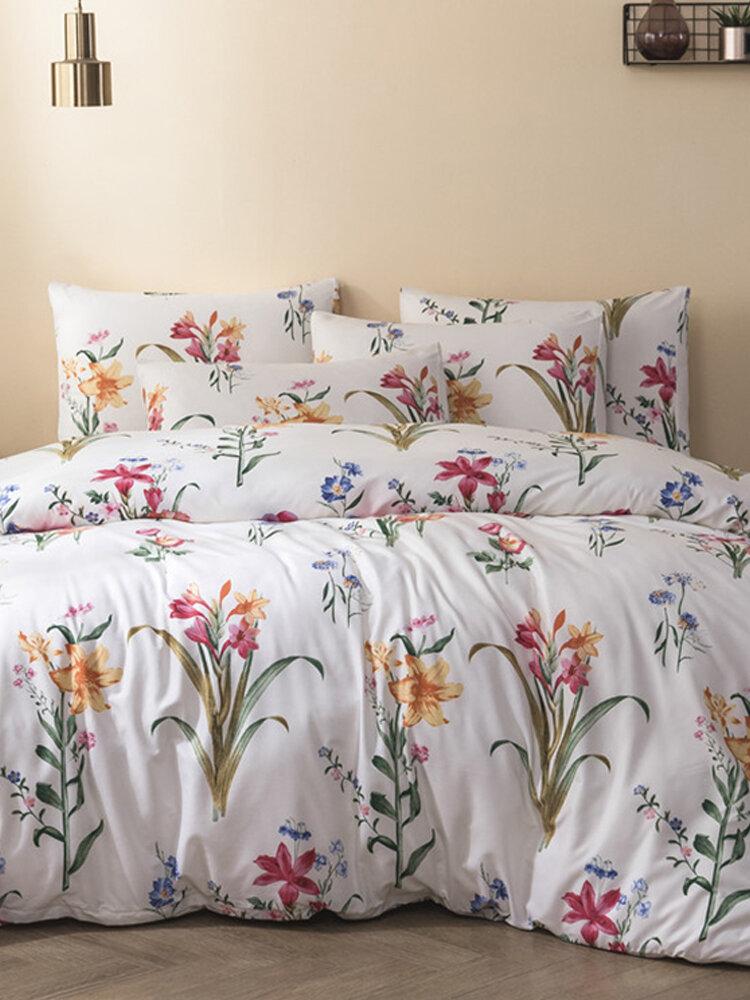 Urban Habit Quilt Three-Piece Brushed Printing Kit Duvet Cover Bedding Set