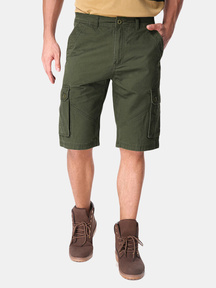Mens Large Size Cotton Solid Big Pockets Loose Cargo Military Shorts