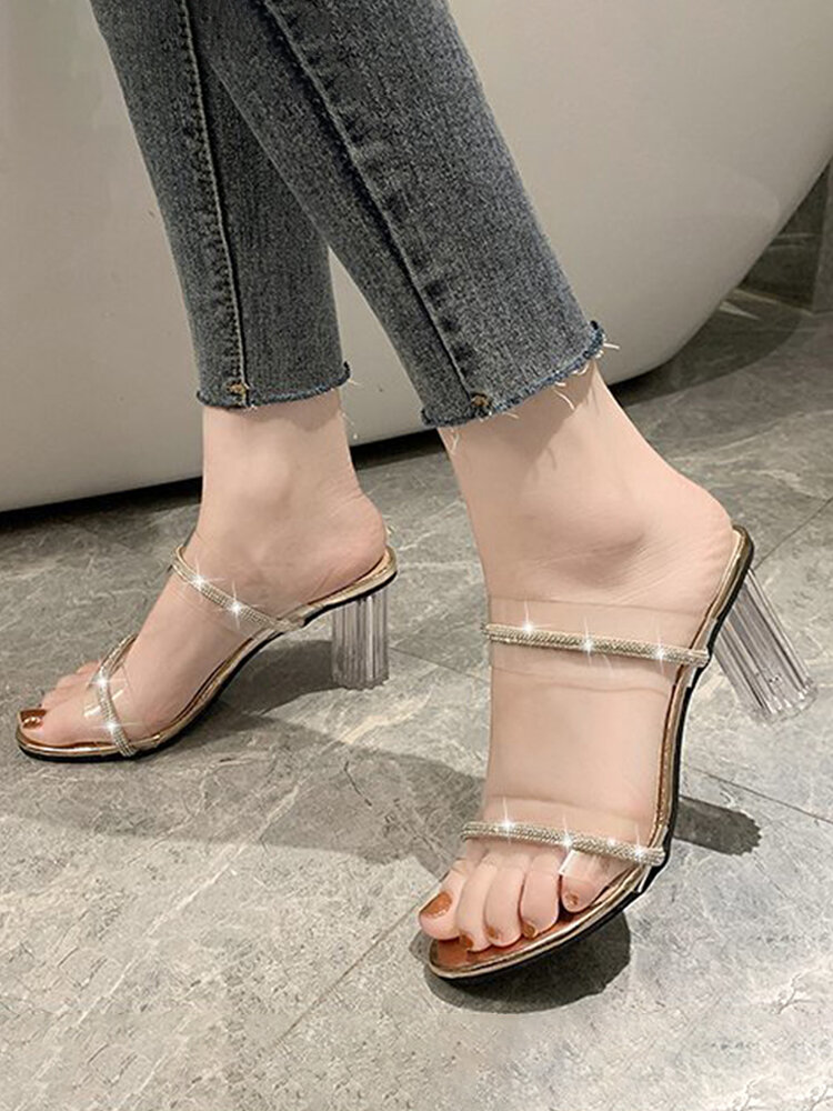 Women Casual Elegant Solid Color Rhinestone Double Band Heeled Sandals