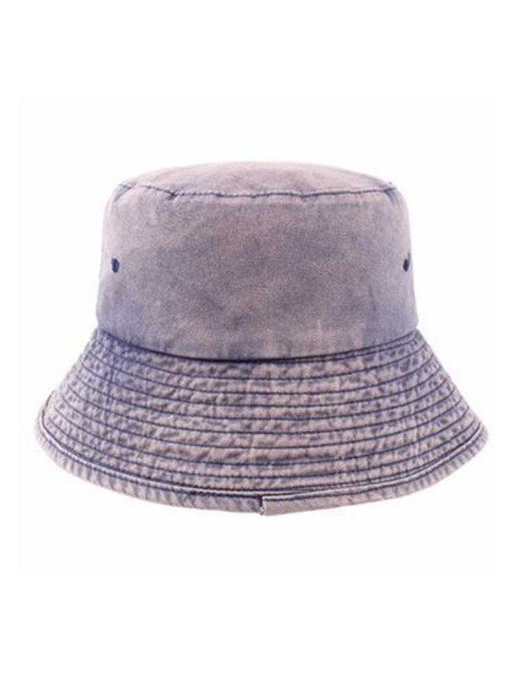 Women's Cotton Washed Foldable Summer Bucket Cap Vogue Sunshad Fisherman Hats