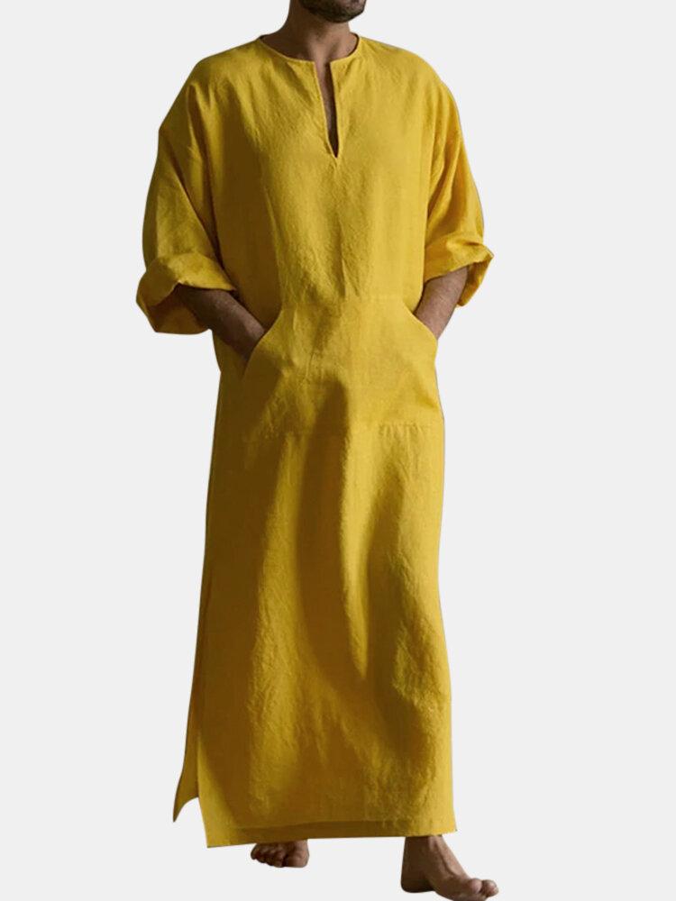 Mens Cotton Solid Color Kaftan Vintage Loose V-Neck Split Long Dress Casual Robes