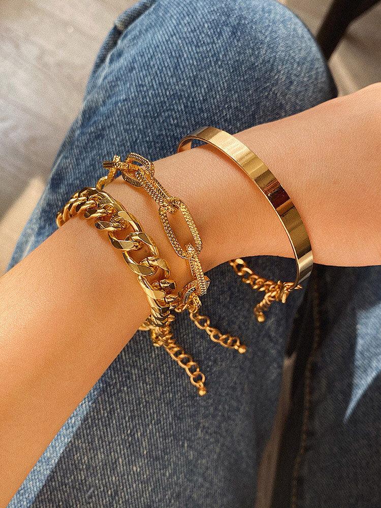 3 Pcs Vintage Thread Mix-Match Bracelet Set Adjustable C-Shaped Chain Women Bangle