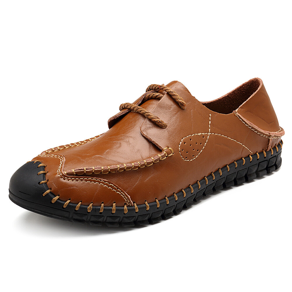 Men Hand Stitching Leather Anti-collision Collapsible Heel Casual Shoes