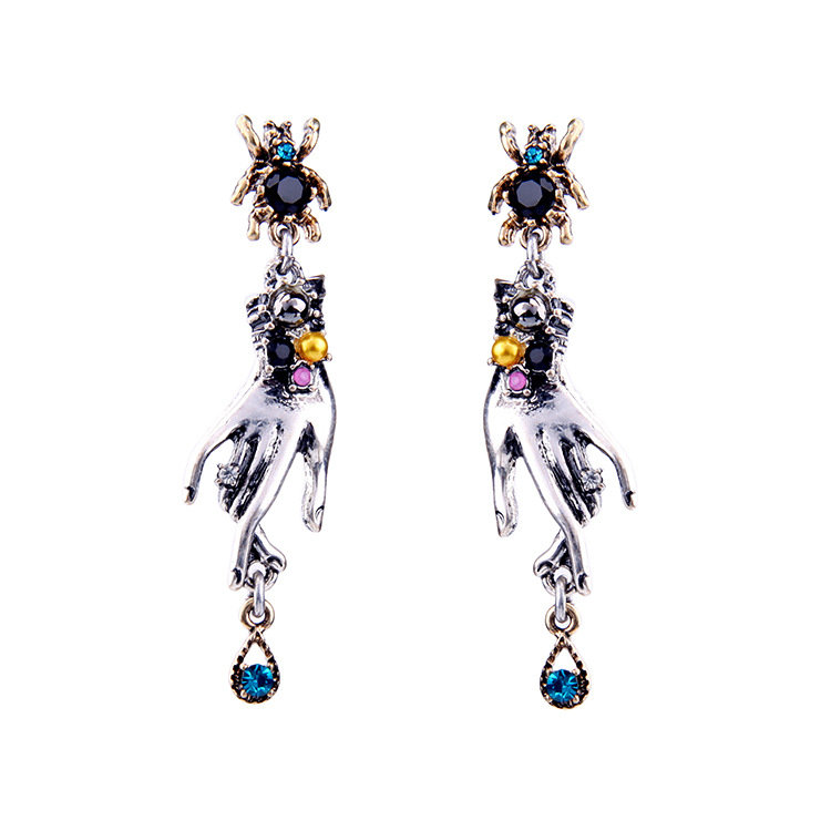 Retro Magic Hands Spider Drop Crystal Silver Dangle Earrings Gift for Women