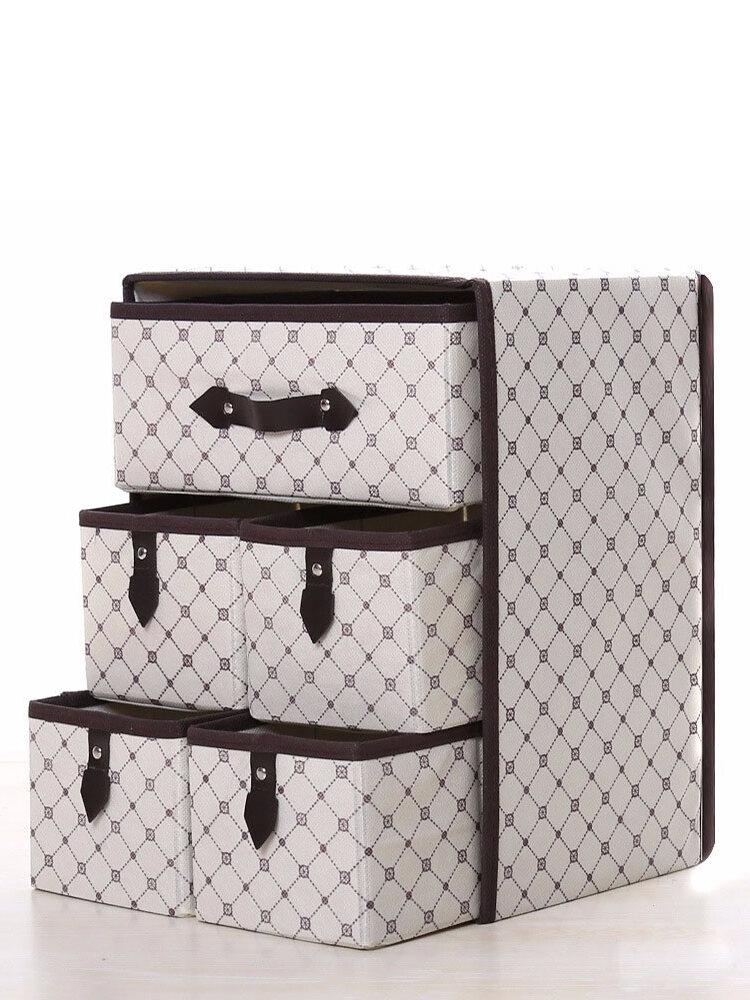 Three Layer Storage Box Five Drawer Non-woven Underwear Cosmetic Makeup Sundries Organizer
