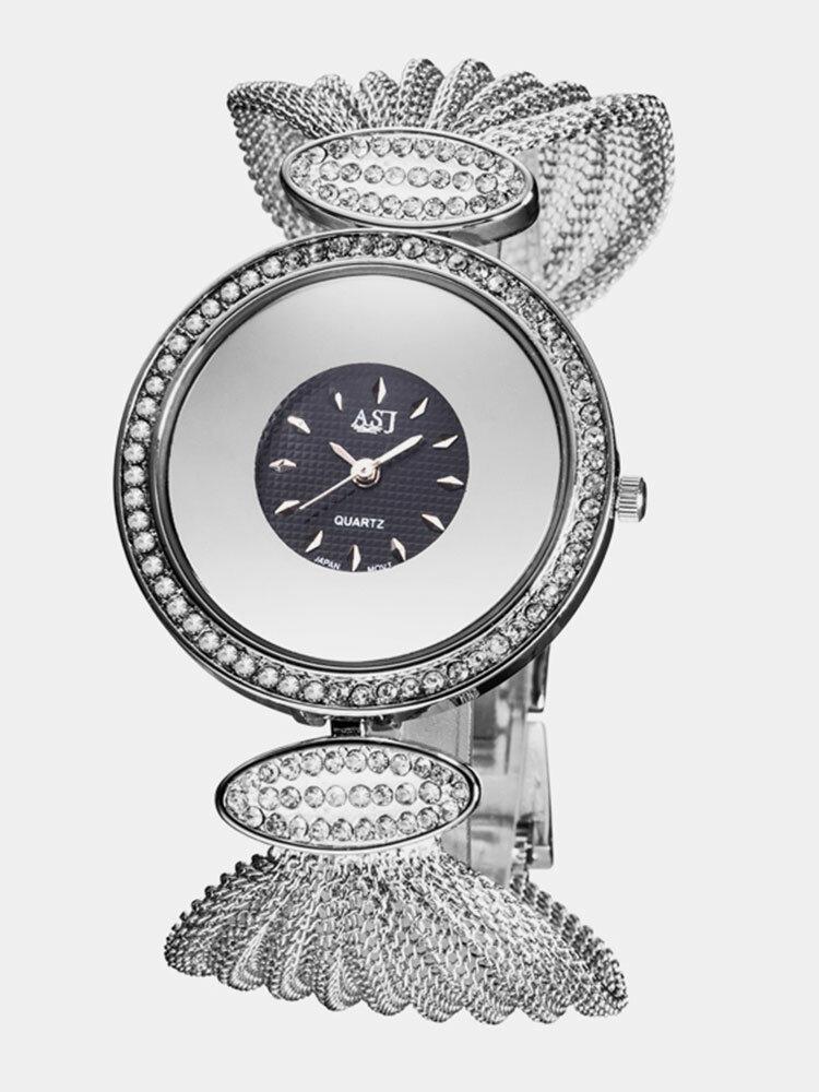 Trendy Women Wristwatch Large Dial Unique Design Mesh Bracelet Quartz Watch