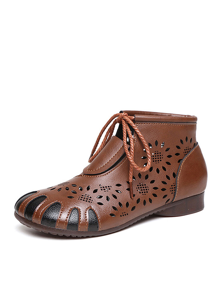 Women Retro Soft Pu Leather Hollow Out Lace Up Flat Ankle Boots