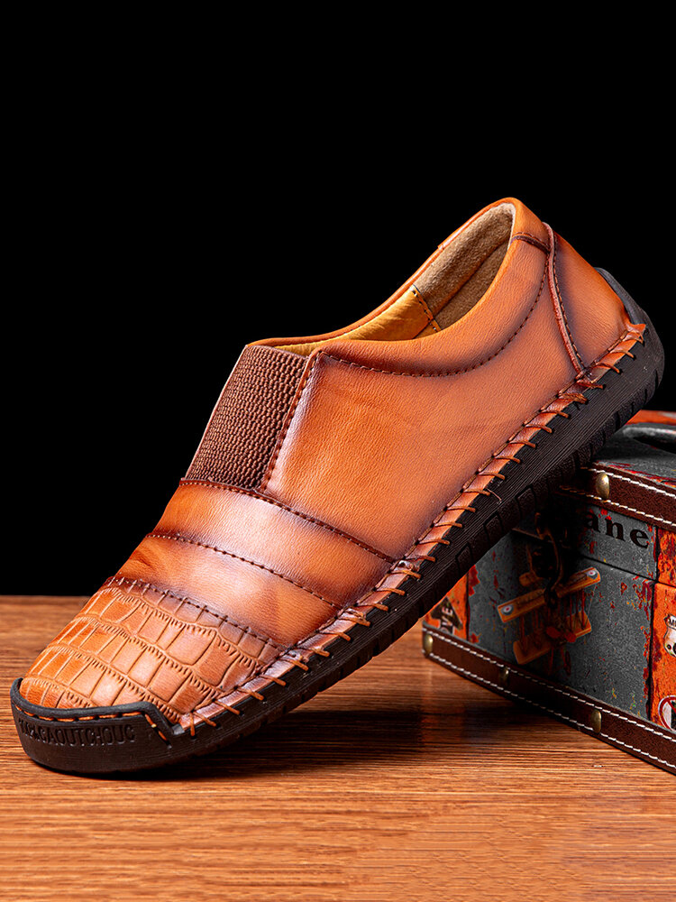 Menico Men Hand Stitching Leather Non Slip Splicing Casual Driving Shoes
