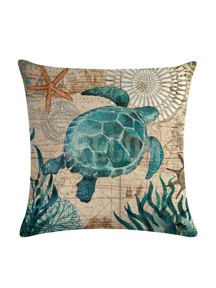 Pulpo Tortuga 45 * 45 cm Funda de cojín Lino Throw Pillow Decoración del hogar Funda de almohada decorativa