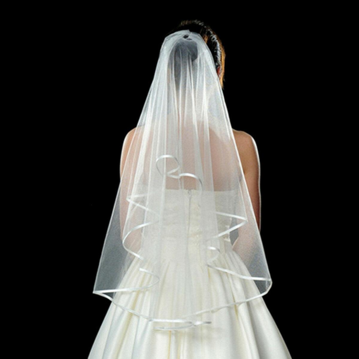 3 Layers Bride Ivory White Wedding Bridal Short Satin Edge Veil With Comb