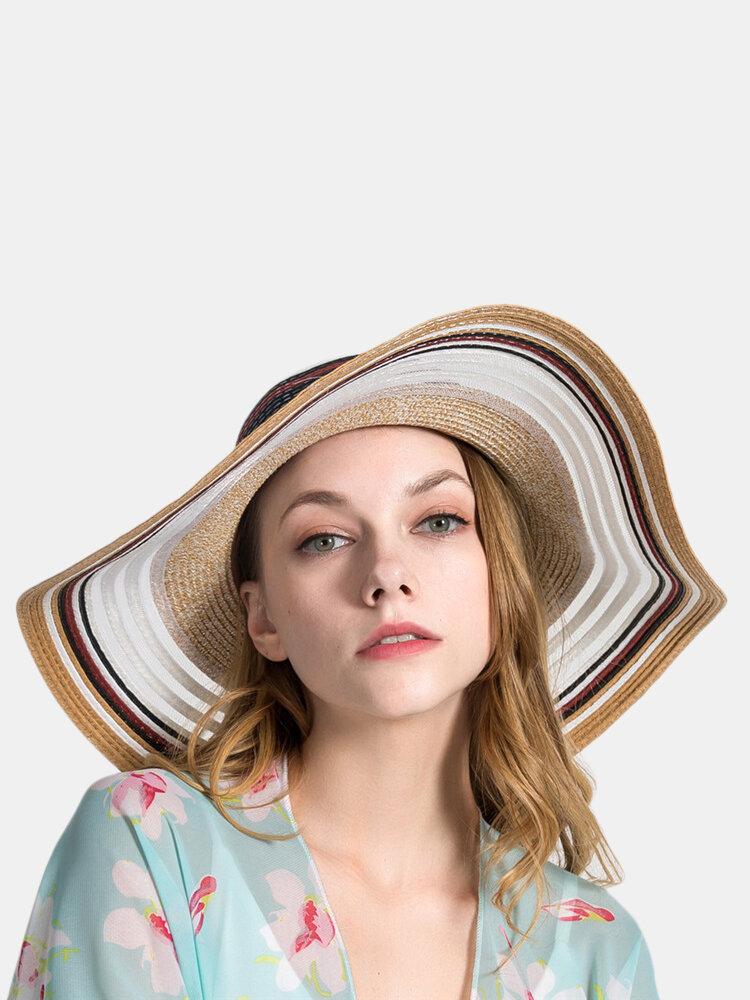 Woman Gradient Hollow Large Edge Cap Travel Shade Straw Hat