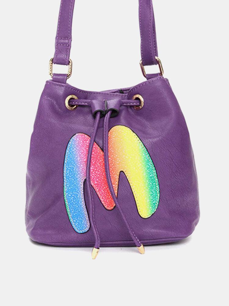 Women Candy Color Bucket Casual Crossbody Bag Leisure Shopping Shoulder Bags