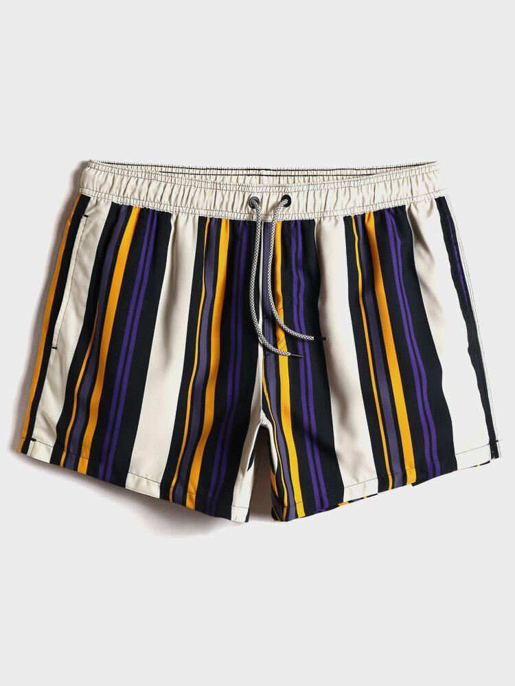 Mens Multi Color Stripe Quick Drying Drawstring Beach Board Shorts