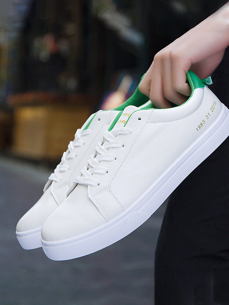 Men Lace-up Brief Printing Pattern Hard Wearing Casual Skate Shoes