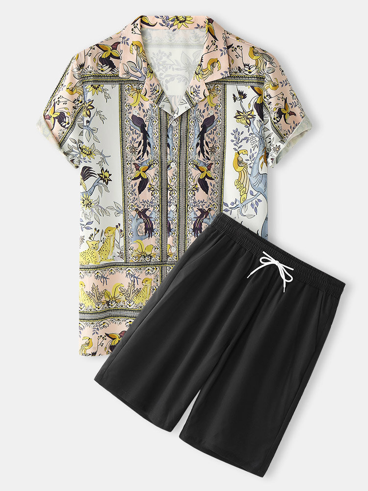 メンズプラントバードプリントリビアカラーバロック半袖ツーピース衣装