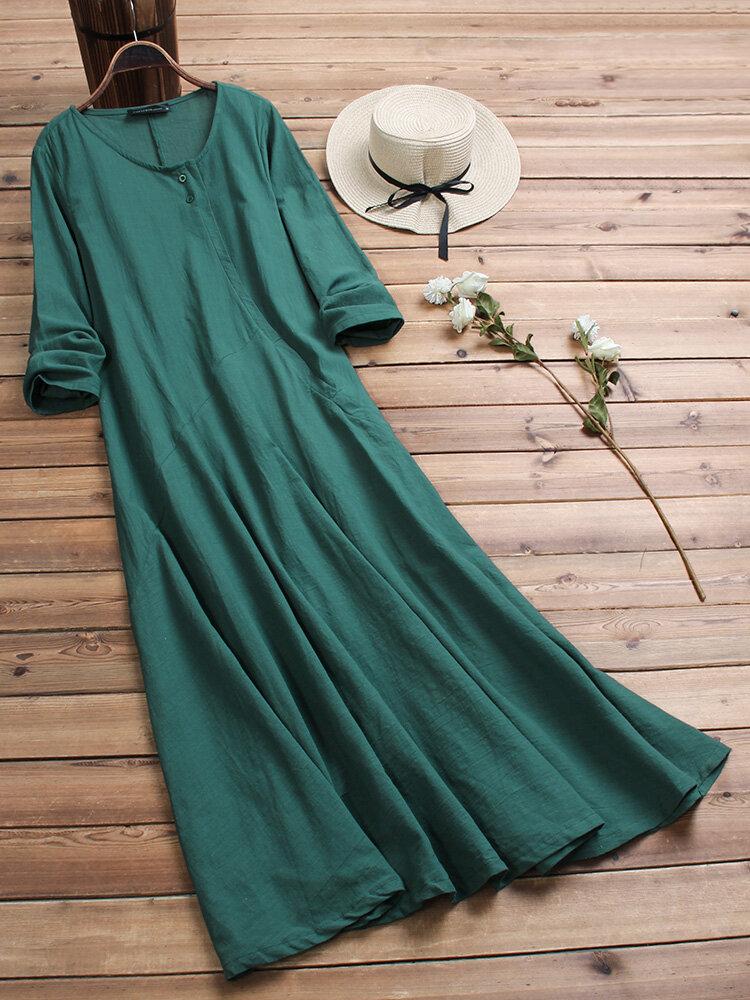 Vestido maxi vintage amplio de algodón de manga larga