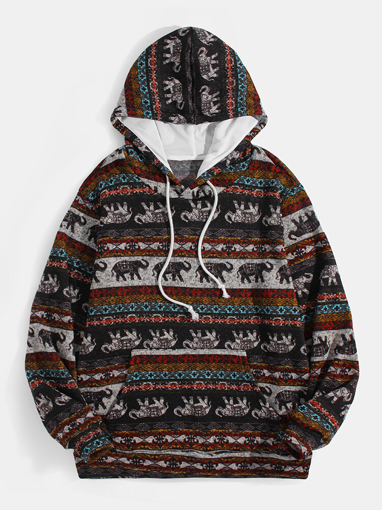 Mens Ethnic Pattern Print Daily Pullover Hoodie With Kangaroo Pocket