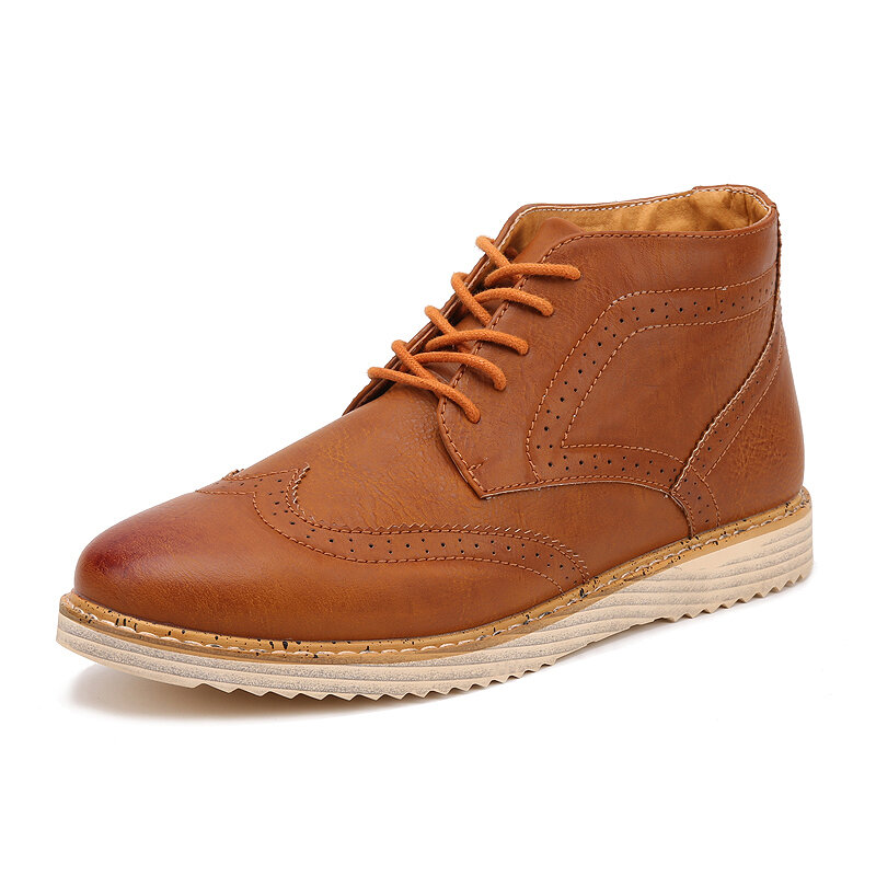 Men Carved Slip Resistant Brogue Soft Casual Leather Boots