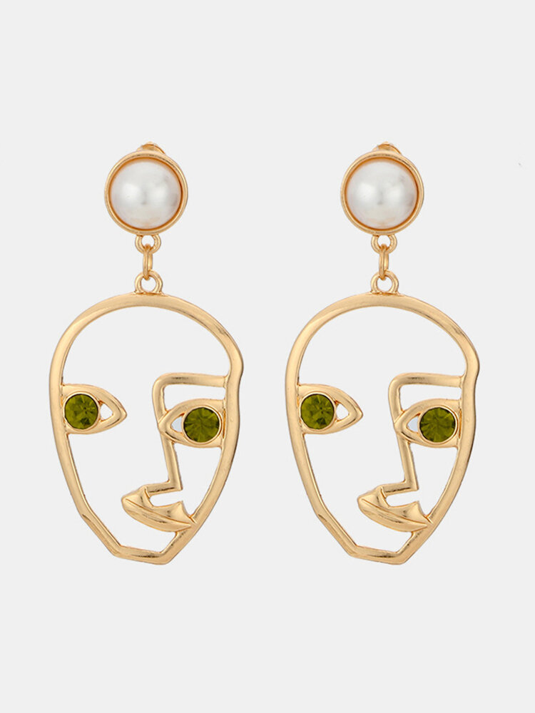 Fashion Exaggerated Abstract Human Face Earrings Gold Color Rhinestones Dangle Earings for Women