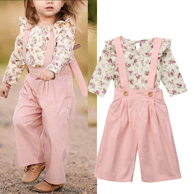 2Pcs Flower Girls Clothing Sets Floral Tops + Suspender Pants For 1Y-7Y