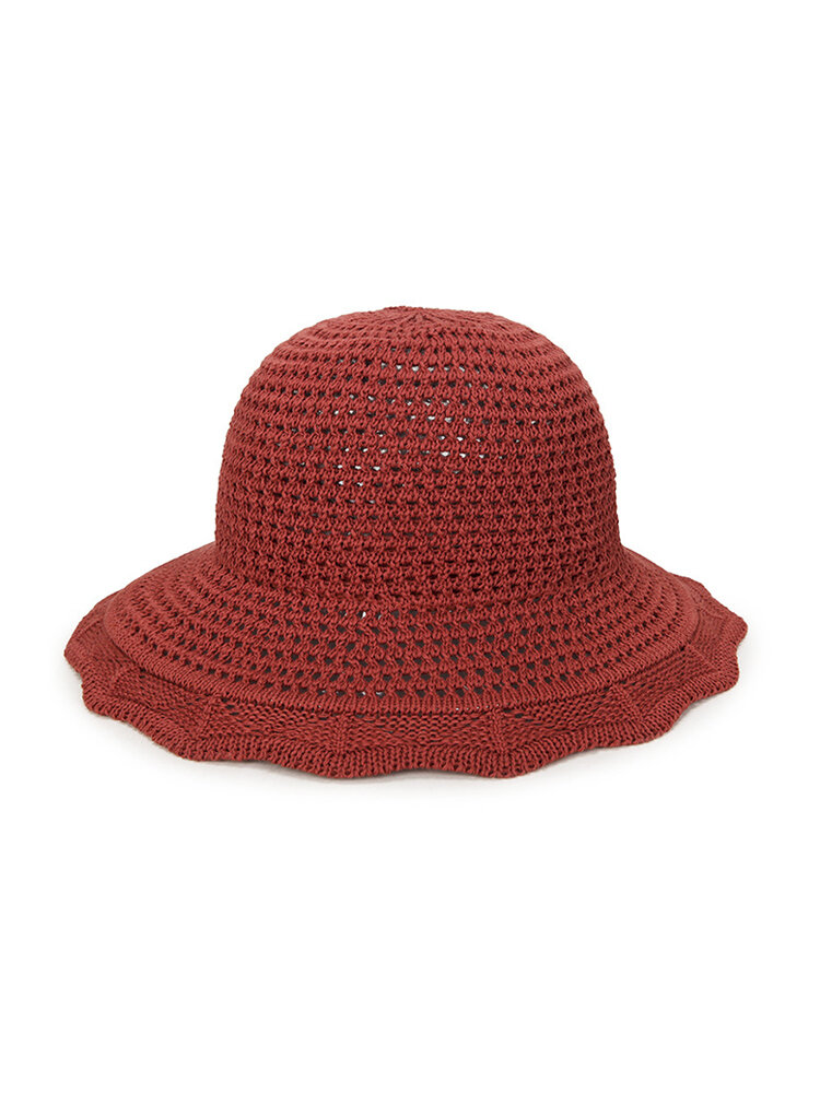 Womens Foldable Hollow Solid Bucket Cap Wild Breathable Outdoor Travel Sun Straw Hat