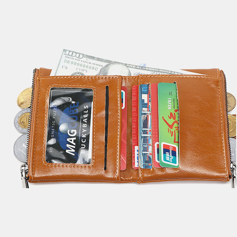 Women RFID Anti Theft 6 Card Slots Oil Wax Bifold Wallet Purse