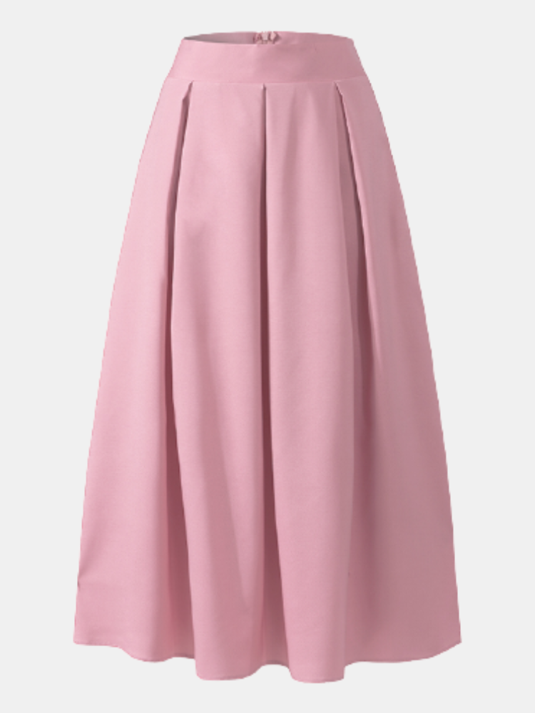 Casual High Waist Pleated Plus Size Long Skirt for Women