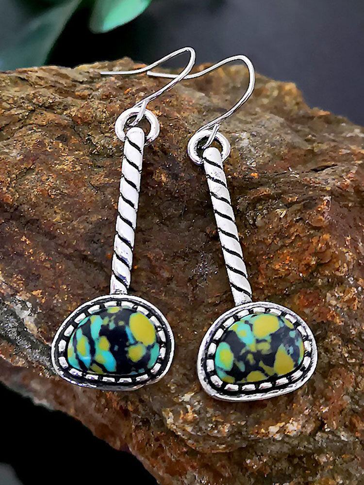 Bohemian Drop-Shaped Color Turquoise Swing Women Pendant Earrings