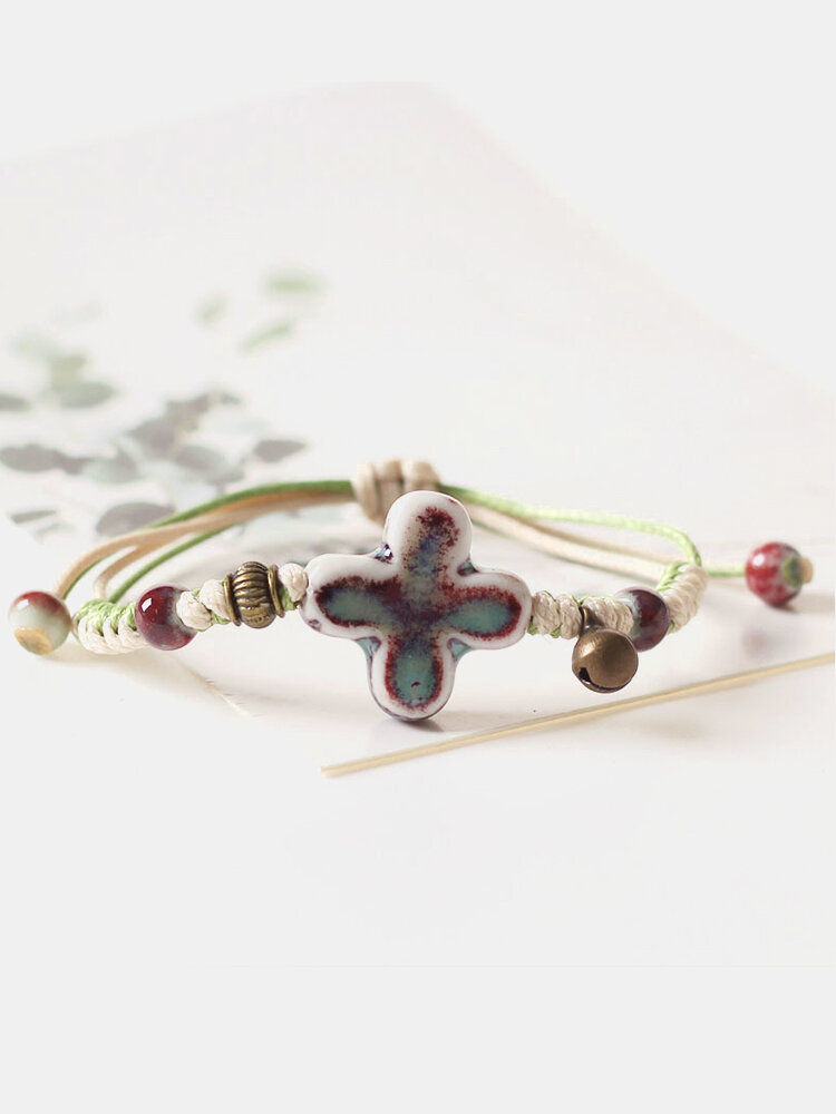 Bohemian Handmade Ceramic Cross Pendant Bracelet Ethnic Ceramic Bead Adjustable Bracelet