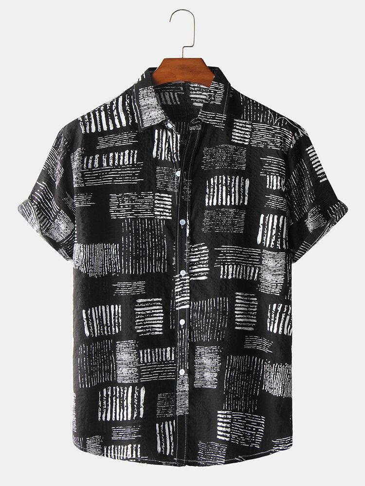 قميص رجالي كاجوال بنمط تجريدي قصير الأكمام