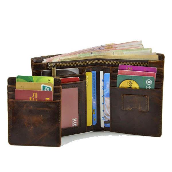Retro Men Genuine Leather Zipper Wallet Card Holders Photo Slots Purse Portable Short Bag