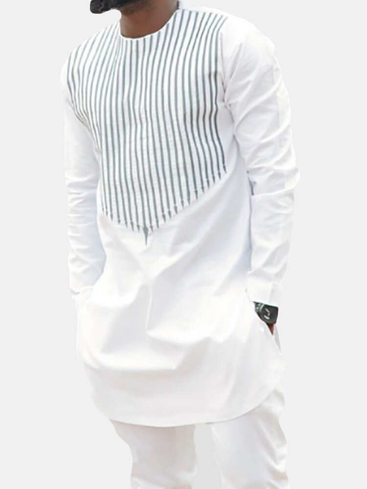 Mens Vertical Striped Printed O-neck Long Sleeve Casual T Shirts