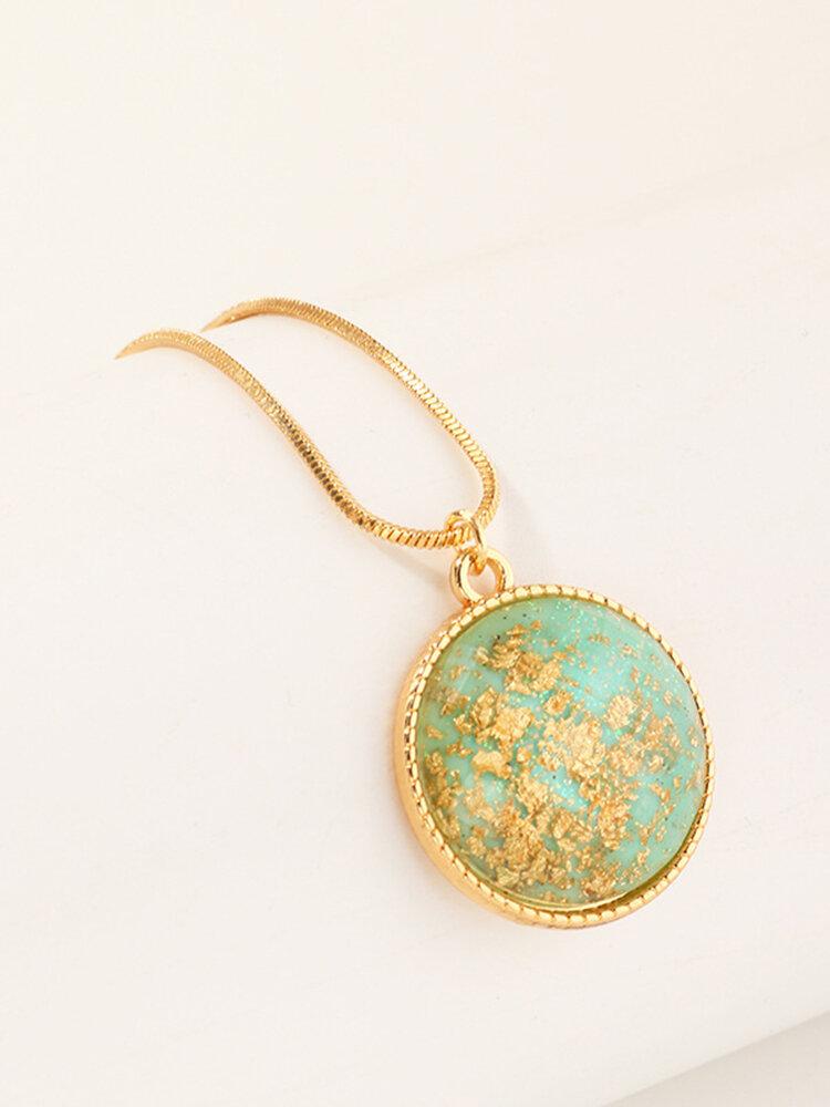 Vintage Hemisphere Gold Foil Necklace Geometric Round Cut Face Gold Foil Pendant Necklace
