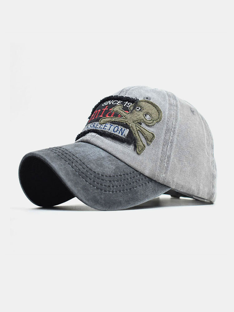 Skull Pattern Hat Washed Old Letters Baseball Cap Men And Women