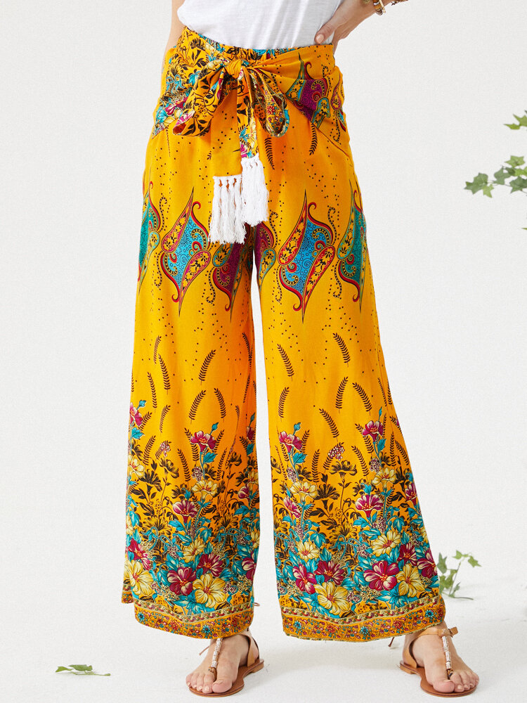 Ethnic Flowers Print Bowknot Wide Leg Casual Pants