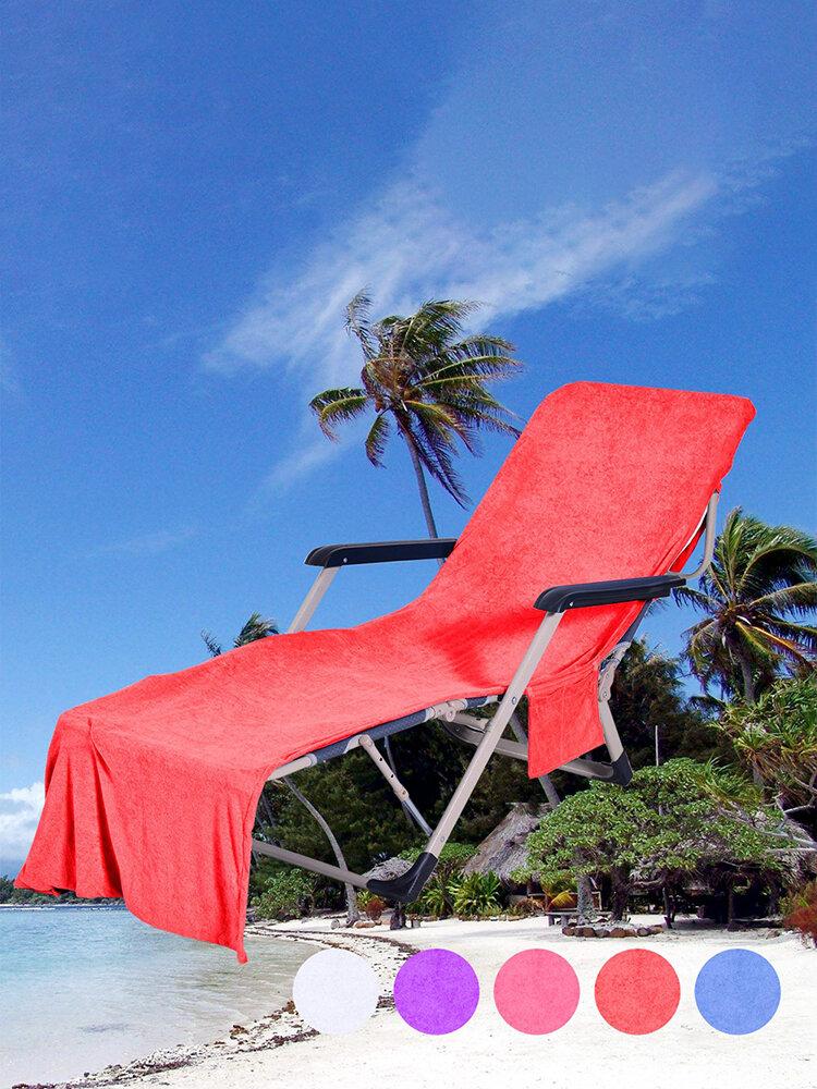 サイド収納ポケット付きラウンジチェアビーチタオルカバーマイクロファイバー軽量ビーチプールチェアカバータオル日光浴ホリデー用