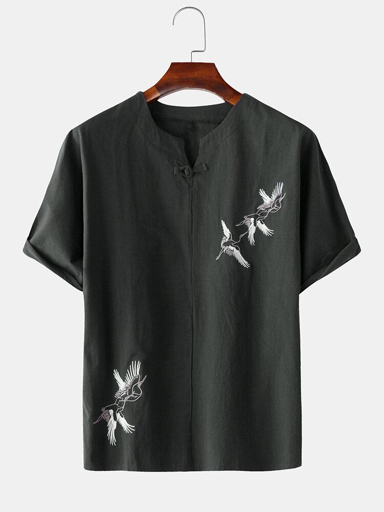 メンズ中国リネン赤戴冠させたクレーン刺繍Tシャツ