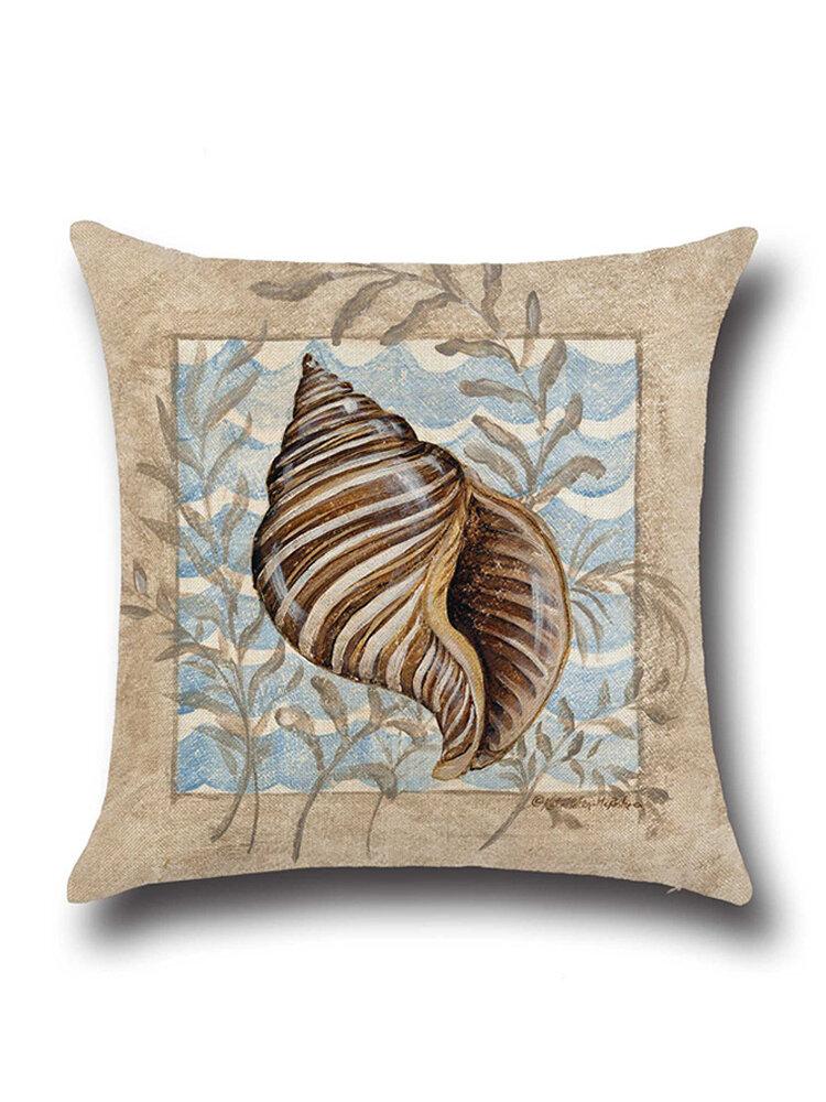 Conch Seahorse Seashell Cushion Cover 45*45cm Cotton Linen Wedding Decor Throw Pillowcase