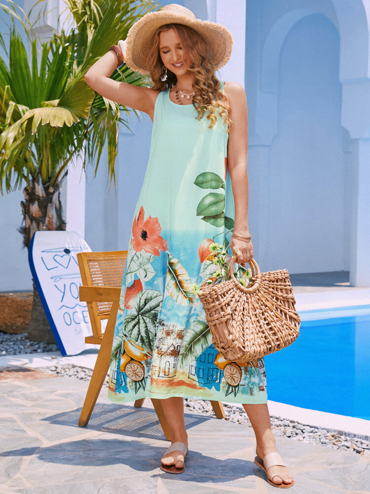 Tropical Flowers Print Sleeveless Casual Vacation Dress for Women