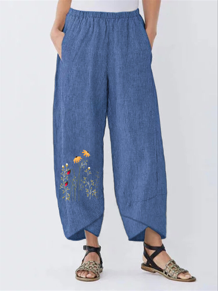 Floral Printed Striped Elastic Waist Casual Pants For Women