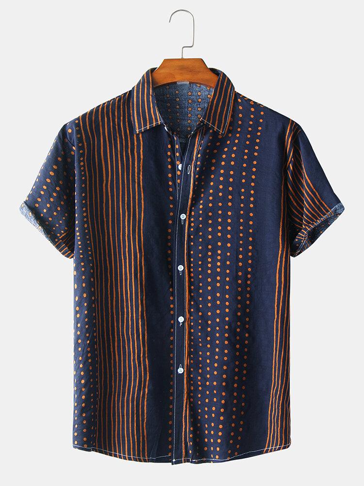 قميص رجالي كاجوال بنقشة مخططة بأكمام قصيرة